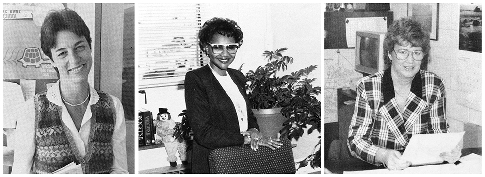 Black and white yearbooks portraits of principals Amanda Griggs, Michele Freeman, and Ann Erler. Griggs' photo was taken in 1987, Freeman's in 1990, and Erler's in 1990.