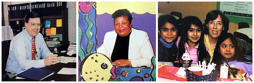 Yearbook portraits of Principals Cabell Lloyd, Michelle Graves Padgett, and Laura Shibles. Lloyd is seated at his desk. The portrait of Padgett has been cut out by hand and overlaid on a blue background surrounded with a colorful border of fish and kelp. Shibles is pictured in the cafeteria at a table with three female students.