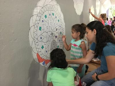 The mural project brought students together before the start of the school year.